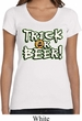 Ladies Halloween Shirt Trick Or Beer Scoop Neck Tee T-Shirt