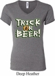 Ladies Halloween Shirt Trick Or Beer V-neck Tee T-Shirt