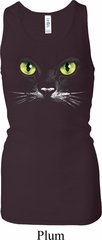 Ladies Halloween Tanktop Black Cat Longer Length Racerback Tank Top