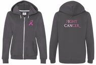 Ladies Hoodie Pink Ribbon Fight Cancer Front & Back Full Zip Hoody