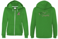 Ladies Hoodie Pink Ribbon For My Grandma Front & Back Full Zip Hoody