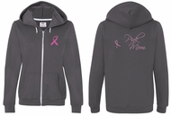 Ladies Hoodie Pink Ribbon For My Mom Front & Back Print Full Zip Hoody