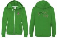 Ladies Hoodie Pink Ribbon For My Sister Front & Back Full Zip Hoody