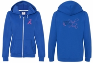 Ladies Hoodie Pink Ribbon Pink For My Aunt Front & Back Full Zip Hoody