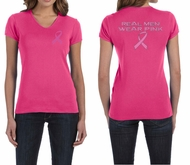 Ladies Shirt Pink Ribbon Real Men Front & Back Print V-neck Tee T-Shirt