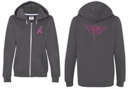 Ladies Hoodie Pink Ribbon Wings Front & Back Print Full Zip Hoody