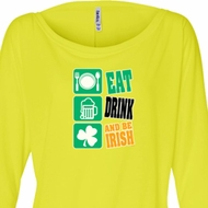 Ladies Irish Shirt Eat Drink Be Irish Off Shoulder Tee T-Shirt