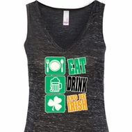 Ladies Irish Tanktop Eat Drink Be Irish Flowy V-neck Tank Top