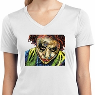 Ladies Joker Face Moisture Wicking V-neck Shirt