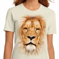 Ladies Lion Shirt Big Lion Face Organic T-Shirt