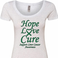 Ladies Liver Cancer Awareness Hope Love Cure Scoop Neck