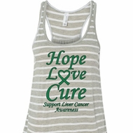 Ladies Liver Cancer Hope Love Cure Flowy Racerback