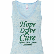 Ladies Liver Cancer Hope Love Cure Flowy V-neck Tank Top