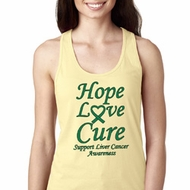 Ladies Liver Cancer Hope Love Cure Ideal Racerback