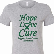 Ladies Liver Cancer Hope Love Cure Longer Length Shirt