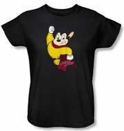 Ladies Mighty Mouse T-shirt - TV Series Classic Hero Black Tee