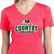 Ladies Mossy Oak Country Roots Dry Wicking V-neck