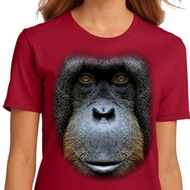 Ladies Orangutan Shirt Big Orangutan Face Organic T-Shirt