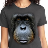 Ladies Orangutan Shirt Big Orangutan Face Tee T-Shirt