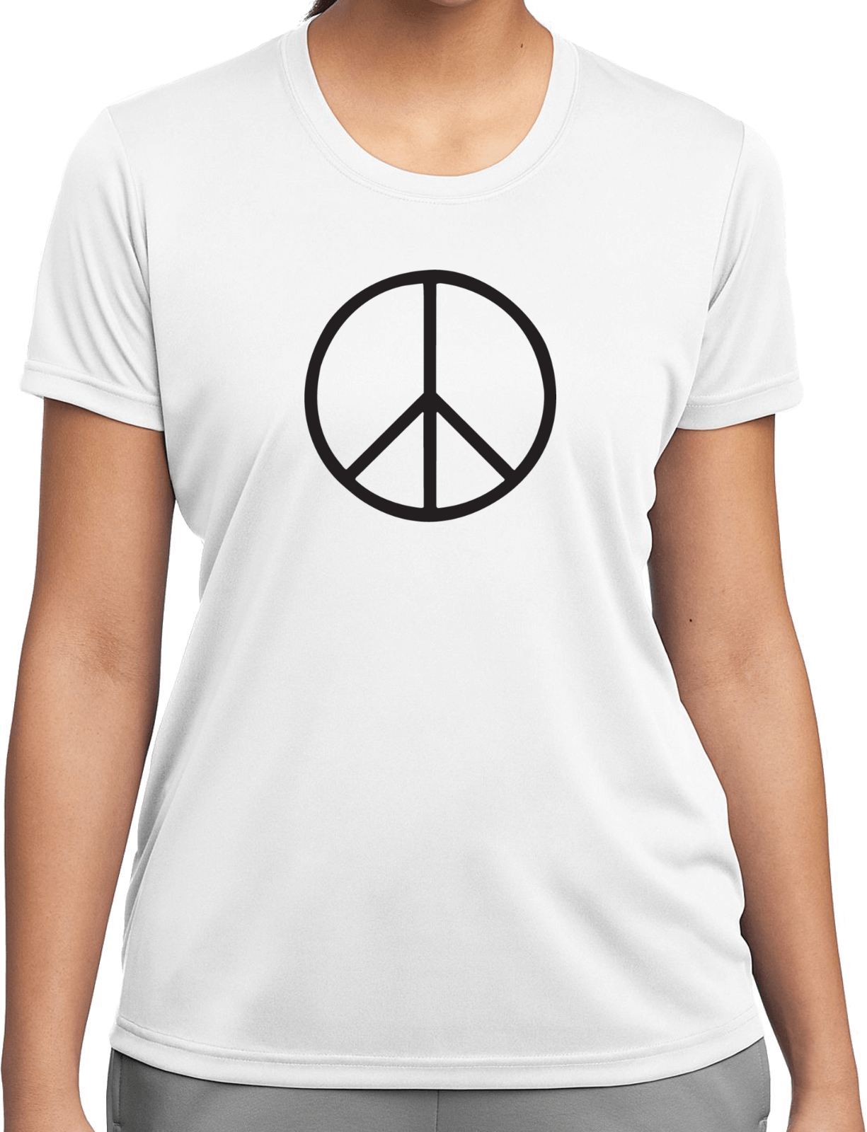 Ladies peace shirt basic peace black moisture wicking tee for Sweat wicking t shirts
