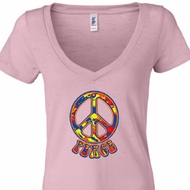 Ladies Peace Shirt Funky Peace Burnout V-neck Tee T-Shirt
