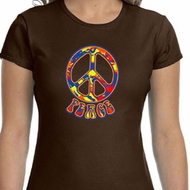 Ladies Peace Shirt Funky Peace Crewneck Tee T-Shirt