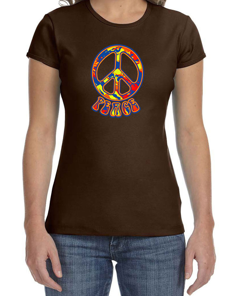 Ladies peace shirt funky peace crewneck tee t shirt for Funky t shirts online