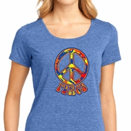 Ladies Peace Shirt Funky Peace Lace Back Tee T-Shirt