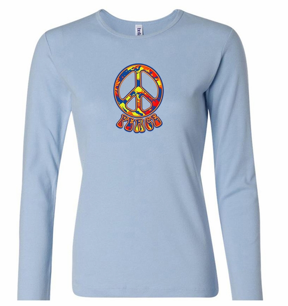 ladies peace shirt funky peace long sleeve tee t shirt