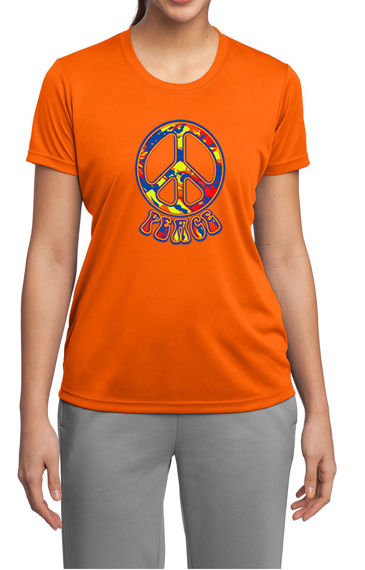 Ladies peace shirt funky peace moisture wicking tee t for Sweat wicking t shirts