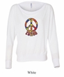 Ladies Peace Shirt Funky Peace Off Shoulder Tee T-Shirt