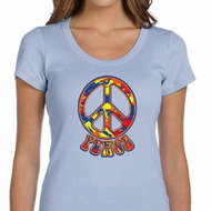Ladies Peace Shirt Funky Peace Scoop Neck Tee T-Shirt