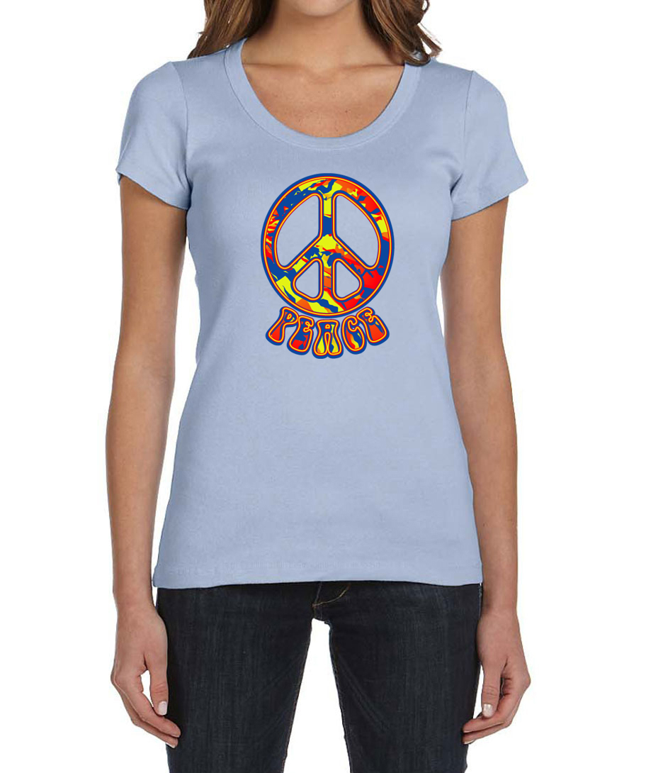Ladies peace shirt funky peace scoop neck tee t shirt for Funky t shirts online