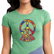 Ladies Peace Shirt Funky Peace Tri Blend Crewneck Tee T-Shirt