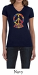 Ladies Peace Shirt Funky Peace V-neck Tee T-Shirt