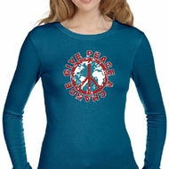 Ladies Peace Shirt Give Peace a Chance Long Sleeve Thermal Tee T-Shirt