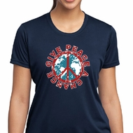 Ladies Peace Shirt Give Peace a Chance Moisture Wicking Tee T-Shirt