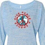 Ladies Peace Shirt Give Peace a Chance Off Shoulder Tee T-Shirt