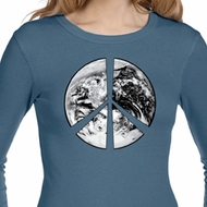 Ladies Peace Shirt Peace Earth Long Sleeve Thermal Tee T-Shirt