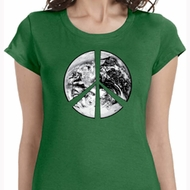 Ladies Peace Shirt Peace Earth Longer Length Tee T-Shirt