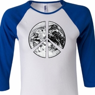 Ladies Peace Shirt Peace Earth Raglan Tee T-Shirt