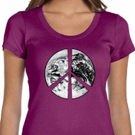 Ladies Peace Shirt Peace Earth Scoop Neck Tee T-Shirt