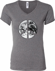 Ladies Peace Shirt Peace Earth V-neck Tee T-Shirt