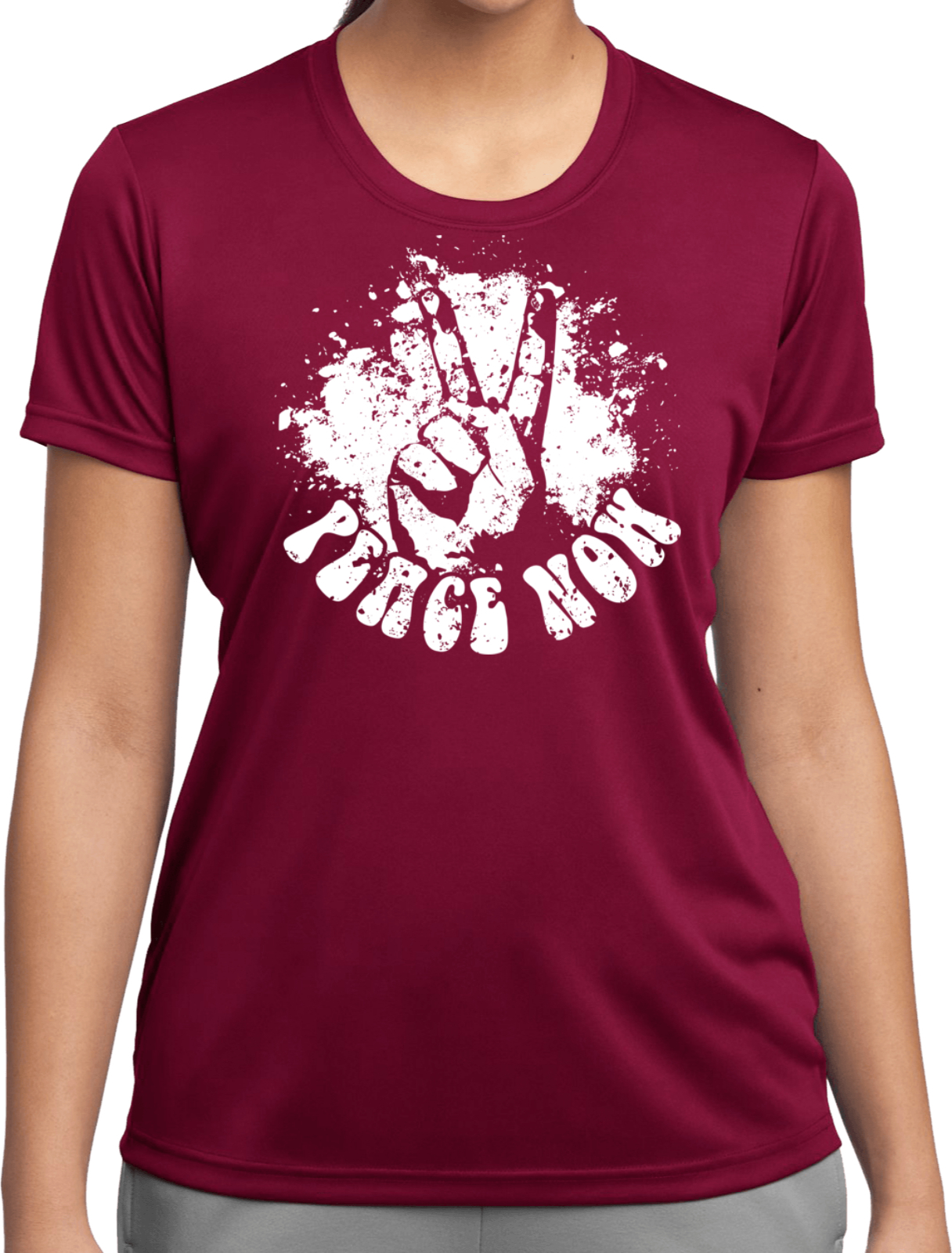 Ladies peace shirt peace now moisture wicking tee t shirt for Sweat wicking t shirts