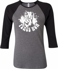 Ladies Peace Shirt Peace Now Raglan Tee T-Shirt