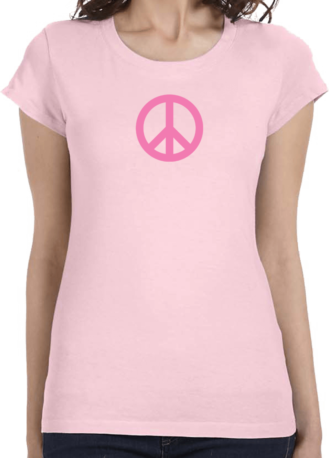 ladies peace shirt pink peace longer length tee t shirt. Black Bedroom Furniture Sets. Home Design Ideas