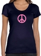 Ladies Peace Shirt Pink Peace Scoop Neck Tee T-Shirt