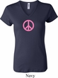 Ladies Peace Shirt Pink Peace V-neck Tee T-Shirt