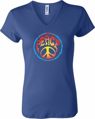 Ladies Peace Shirt Psychedelic Peace V-neck Tee T-Shirt