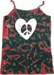 Ladies Peace Tank Top Hippie Heart Peace Tie Dye Camisole